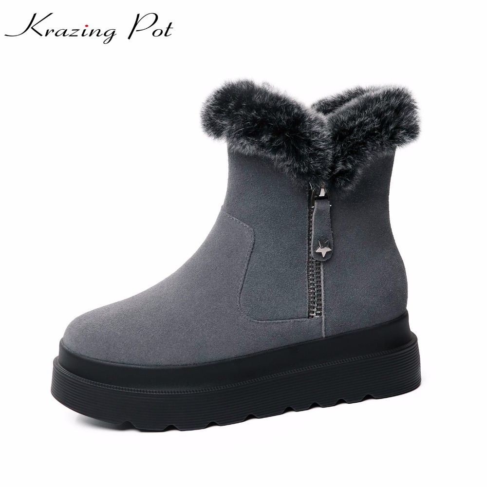 Krazing Pot hot cow suede new arrival superstar flat with winter metal buckle keep warm snow boots slip on women ankle boots L18