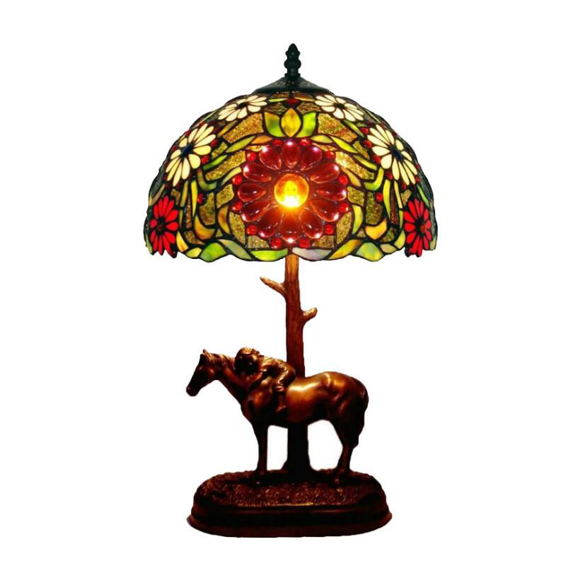 Antique Stained Glass Tiffanylamp Gold Office Home Decor Red Flower Animal Horse Designer Desk Table Lamp