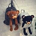 2016New Winter Women/Girls Fashion Leather Backpack Plush Teddy Bear Backpack School bag brand leisure small backpack bag XA728B
