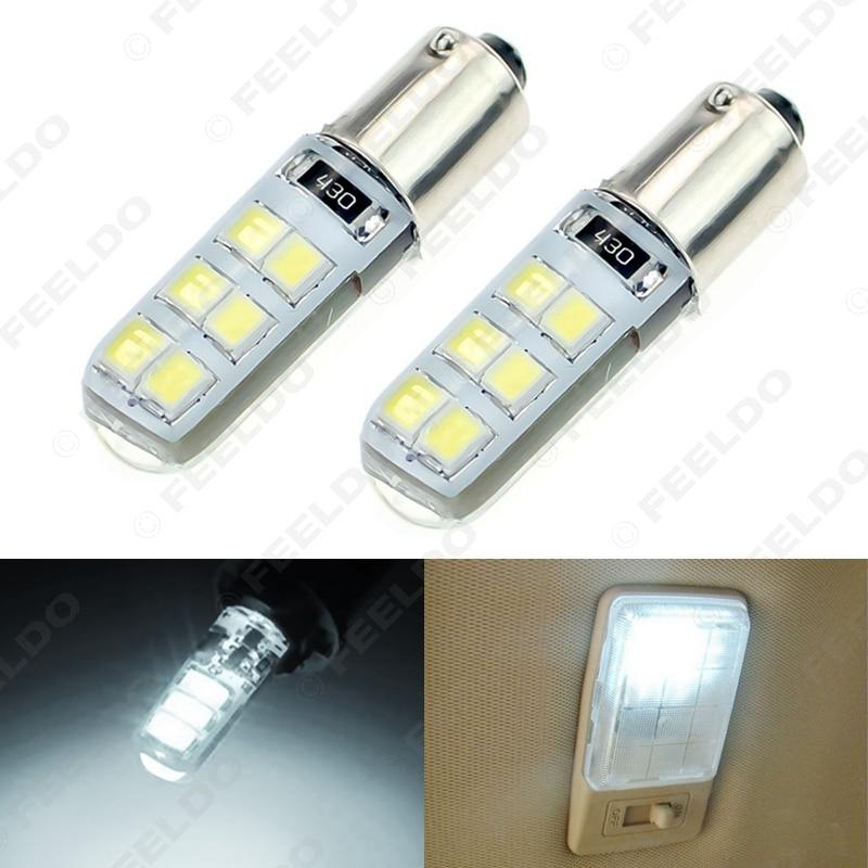 FEELDO 4Pcs White DC12V Car T4W BA9S 12SMD 2835 Chip Silicone Case LED License Plate Bulbs Lamp Door Light #FD-4645