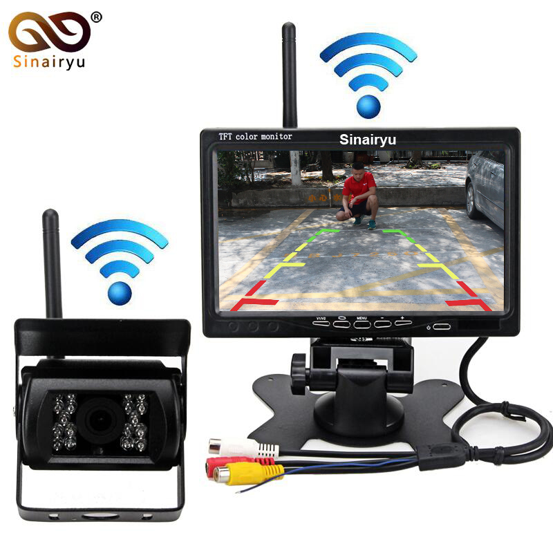 Car Parking Assistance System 2.4 GHz Wireless Rear View Camera + 2.4 GHz Wireless 7 inch Car Monitor Fit For Auto Truck Van Bus 12v loud horn siren 5 sounds tone pa system 60w max 300db for car auto van truck