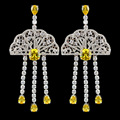 Elegant famous brand white/red/yellow luxury tassel earrings for women,high quality micro pave AAA zircon fashion jewelry