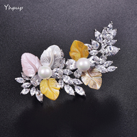 Yhpup AAA Luxury Natural Shell Flowers Shiny Cubic Zirconia Diamond Pearl Top Grade Female Brooch Suit