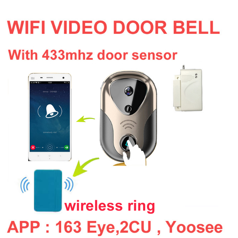 Video Door Intercom camera with bell WiFi IP Camera Wireless Alarm Doorbell HD Visual Intercom WiFi Door Bell door cctv camera wireless video call ip camera kit with door magnetic door alarm super high voice quality voip phone