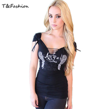 2016 Fashion Women's T shirt Back Hollow Angel Wings T-shirt Tops Summer Style Woman Lace Short Sleeve Tops T shirts Clothing
