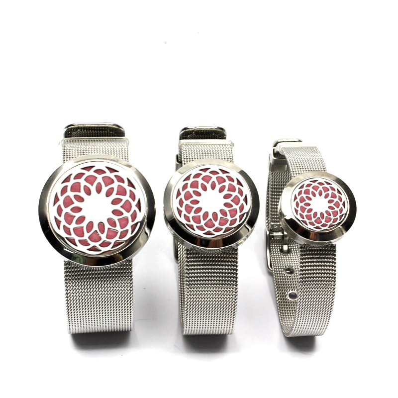20/25/30 Sunflower Design 316L Stainless Steel Mesh Bangle Aromatherapy Essential Oils Diffuser Locket Bracelet With Free Pads