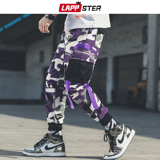 LAPPSTER Men Streetwear Camouflage Cargo Pants 2020 Overalls Mens Hip Hop Joggers Pants Korean Style Patchwork Belt Sweat Pants 2