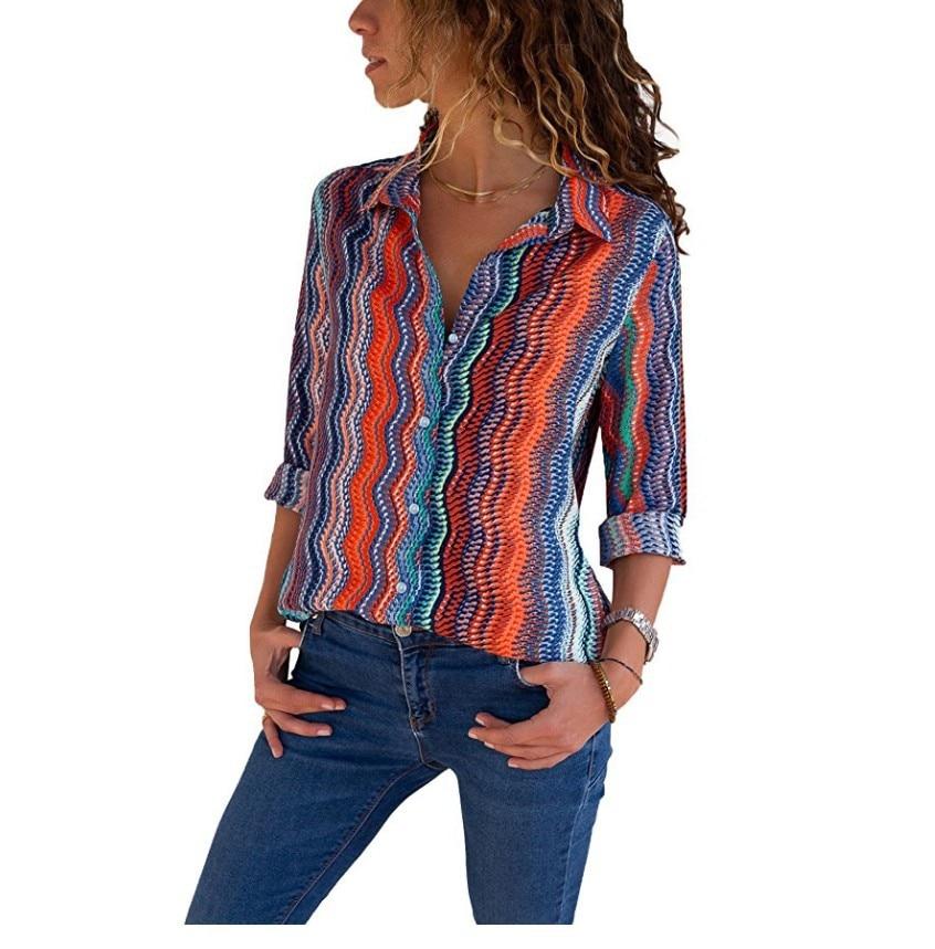 Womens Tops And Blouses Plus Size 4XL 5XL Long Sleeve Blusas Mujer De Moda 2018 Elegantes Florales Striped Print Women Blouse    4