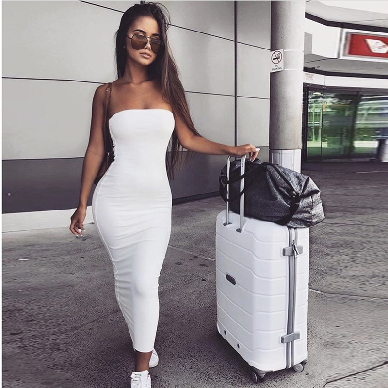 Summer Off Shoulder Bodycon Long Sexy Party Dress Women Strapless Bandage Mixi Solid Club Dress Balck & White Elegant Dress