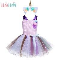 6 Style Flower Girls Tutu Dress Fancy Rainbow Princess Unicorn Dress With Headband Halloween Costume Kids