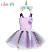 6 Style Flower Girls Tutu Dress Fancy Rainbow Princess Unicorn Dress With Headband Halloween Costume Kids