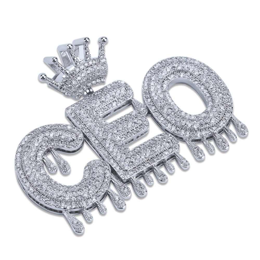 Пользовательское имя пузырьковая цепочка с буквами ожерелья с подвесками для мужчин амулеты Iced Out CZ хип-хоп ювелирные изделия подарки с золотой серебряной теннисной цепью