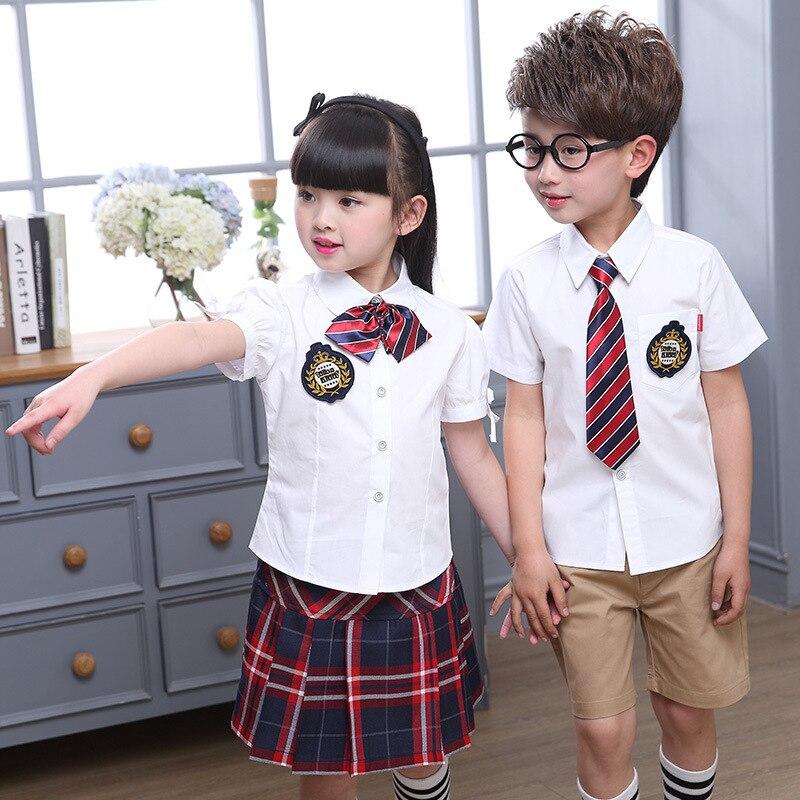 Children's Summer School Wear Kids Short-sleeved Shirt Skirt Suit Boy Girls Kindergarten Uniform Child School Wear D-0521