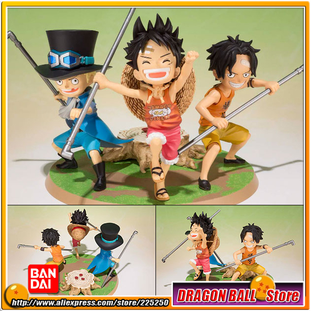 Japan Anime ONE PIECE (100% Original BANDAI) Tamashii Nations Figuarts Zero Figure - Luffy, Ace, Sabo -Gikyoudai no Yakusoku- japan anime one piece 100% original bandai tamashii nations figuarts zero figure violet