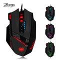 Zelotes 12 Программируемых Кнопки Pro Gaming Mouse 4000 ТОЧЕК/ДЮЙМ Вес тюнинг Комплект СВЕТОДИОДНАЯ Оптическая USB Проводная Игры Мышь для Pro геймер