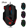 Zelotes 12 botões programáveis pro gaming mouse 4000 dpi peso Tuning Set LED Optical USB Wired Game Mouse para Pro Gamer