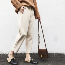 2018 New Autumn Winter Women Loose Style Casual Ankle-Length Pants Ladies Straight Pants Famle Elastic Waist High Harem Pants