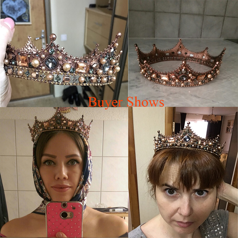 Idealway Baroque Luxury Pearl Bridal Crown Wedding Party Prom Vintage Full Crystal Big King Queen Tiara and Crown coroa casament