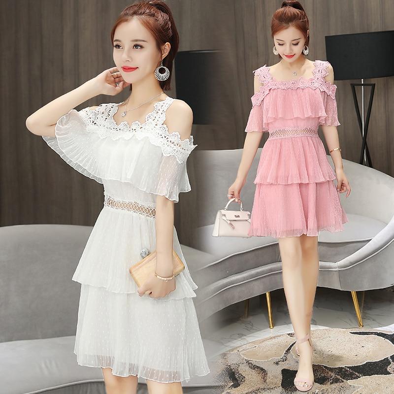 Spring New Women Sweet Spaghetti Strap Mini Chiffon Dress Women's Lace Stitching Party Cake Dresses White Pink Beach  Dress