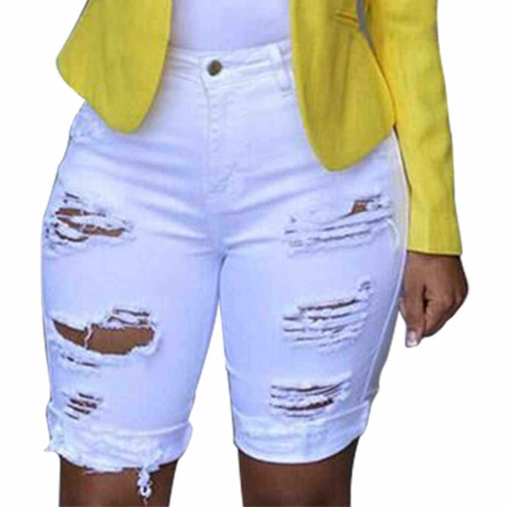 414f2a9d9 ... Women Elastic Destroyed Hole Short jeans Denim Shorts Ripped Jeans Sexy  Womens Elastic Hole Short Pants ...