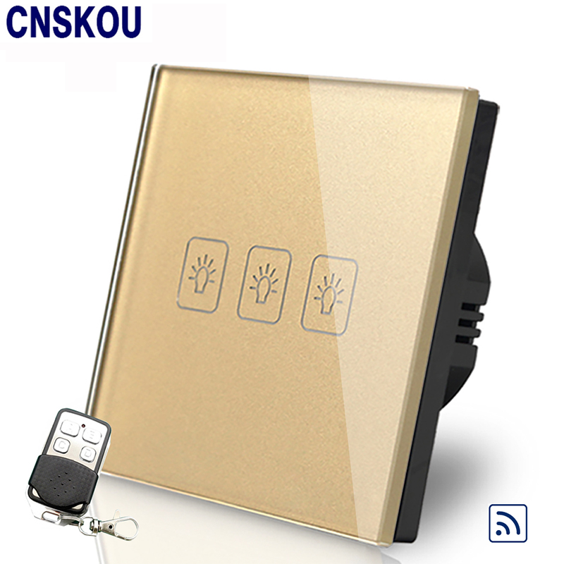 Csnkou EU Standard 3Gang 220V Wireless Remote Control Touch Switch Gold Crystal Glass Panel For Led Lamp Smart Home Factory 2017 smart home crystal glass panel wall switch wireless remote light switch us 1 gang wall light touch switch with controller
