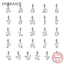 INBEAUT 100% Real 925 Sterling Silver 26 English Capital Letters Beads fit Pandora Bracelet Original S925 Word Series Charms(China)
