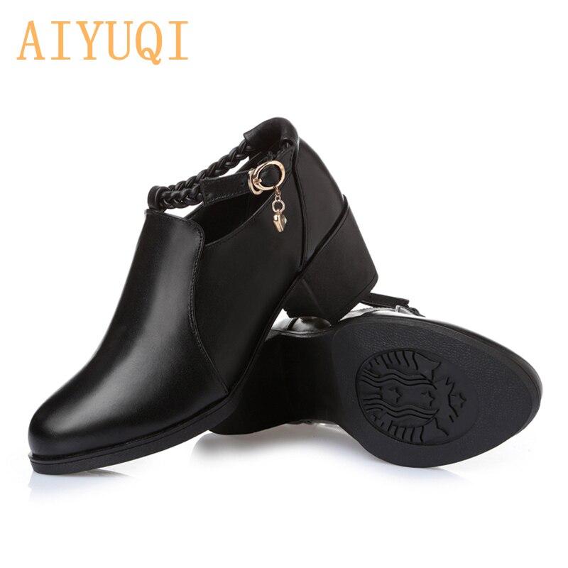 Glissière Nouvelles Cuir Épaisse Avec Sac Nouveau Bouche 2019 Les Kelly Femmes Chaussures De Profonde Loisirs En Véritable Black Latérale CqFtO8xwt