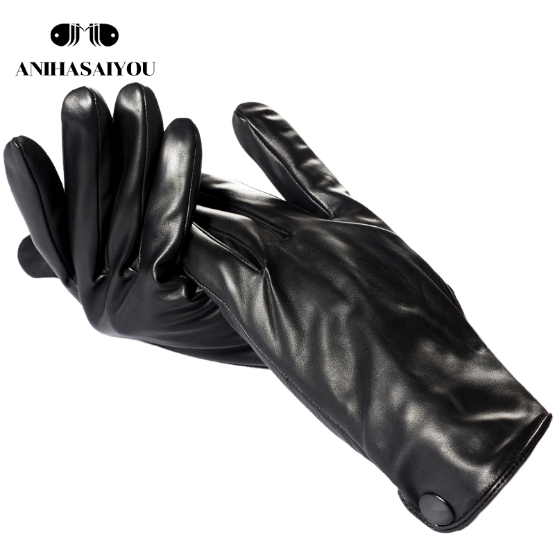 New Winter Black Mens Leather Gloves,Sheepskin Gloves Male Winter,Simple Men's Leather Gloves,High Grade Men's Gloves - 731