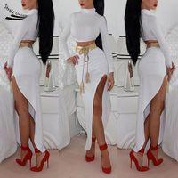 Finejo Stylish Lady Women S Casual Bodycon Long Sleeve Crop Top With High Split Dress Set