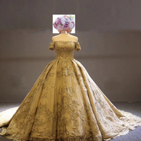 Meeo Novias Luxury Dubai Princess Wedding Dress 2017 Lace Up Back Gold Lace Off the shoulder Arabic Wedding Dresses Custom Made