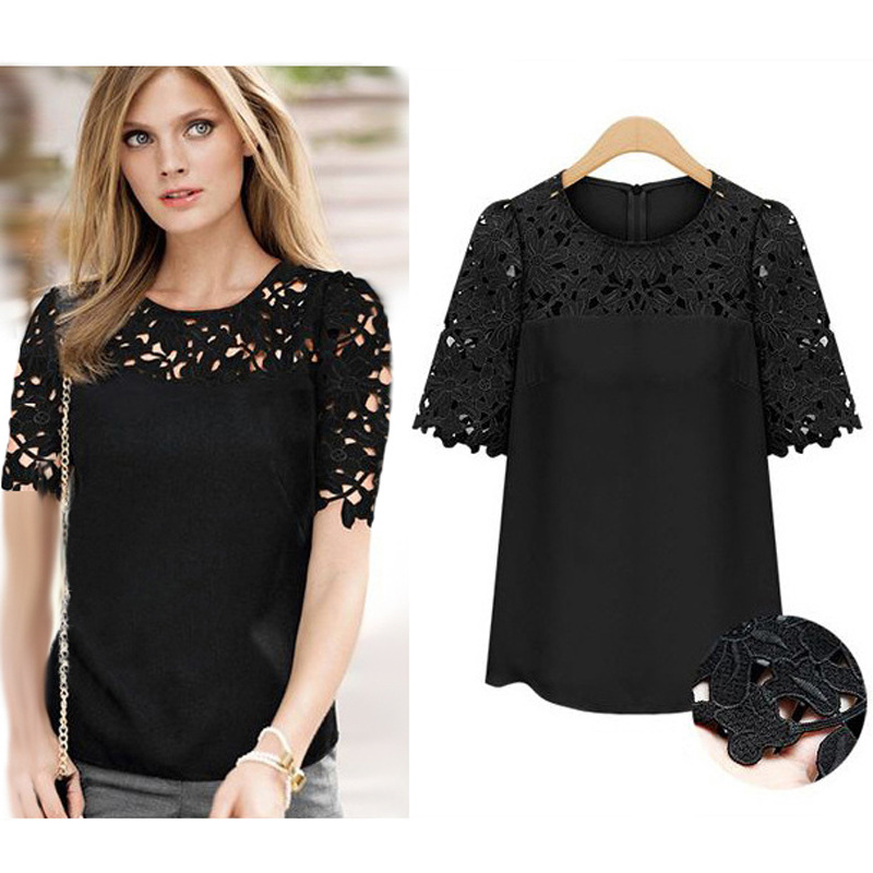 2017 Blusas Women Blouse Lace Shirt Women Chiffon Blouse Vintage Black Sexy Blusas Y Camisas Mujer Summer Shirt 5XL Plus Size