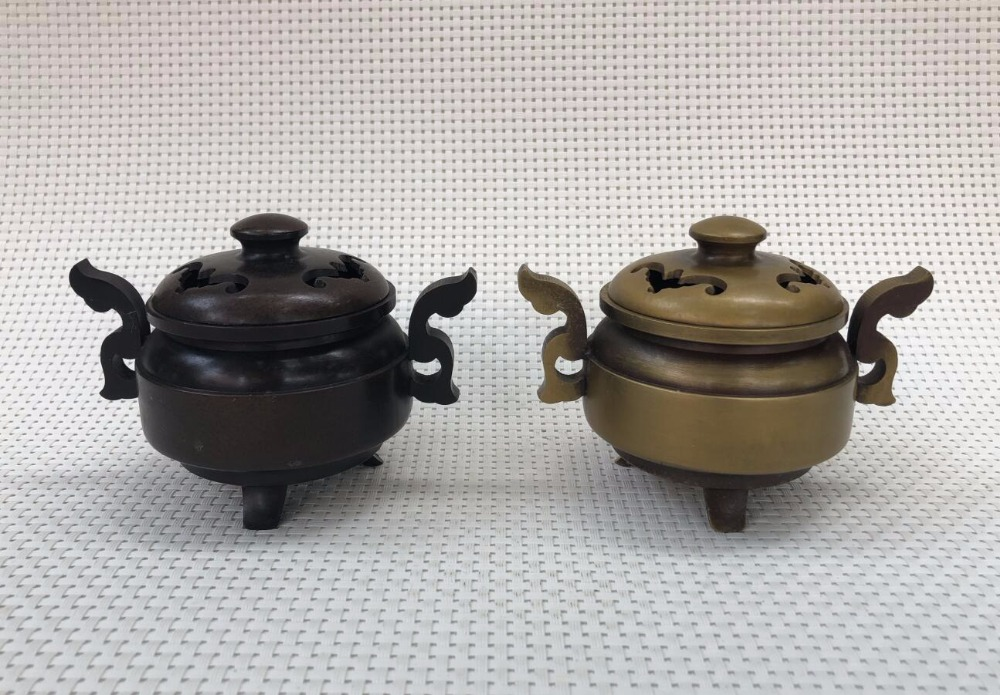 Antique Bronze Collection Decoration Antique Old Home Decoration Props Craft Gifts Double Ear Incense Burner