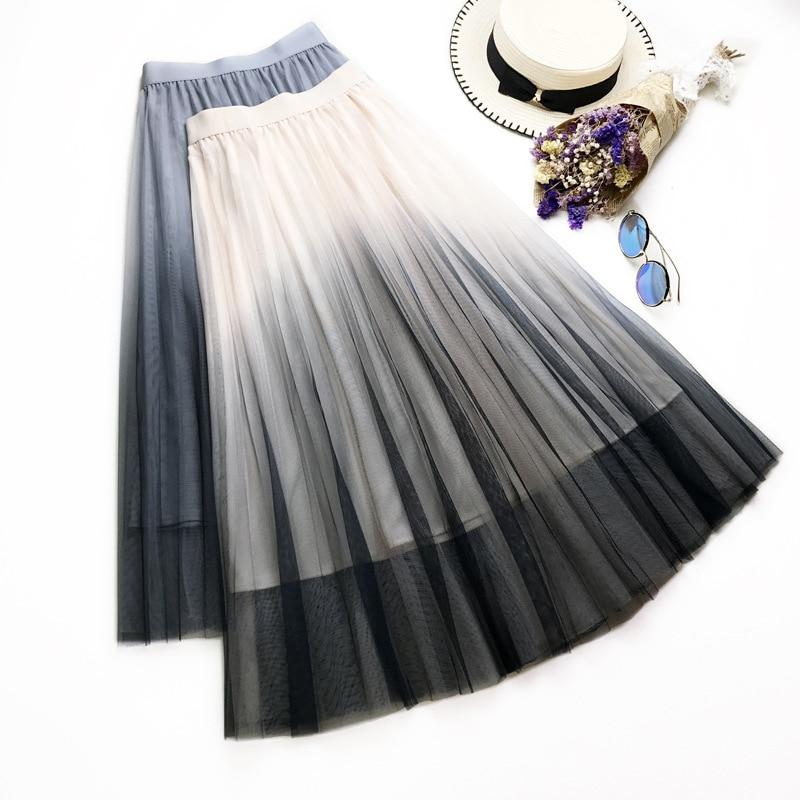 Gradual Change Colour Skirts Womens Black Gray White Adult Tulle Skirt Elastic High Waist Pleated Midi Skirt 2019 in Skirts from Women 39 s Clothing
