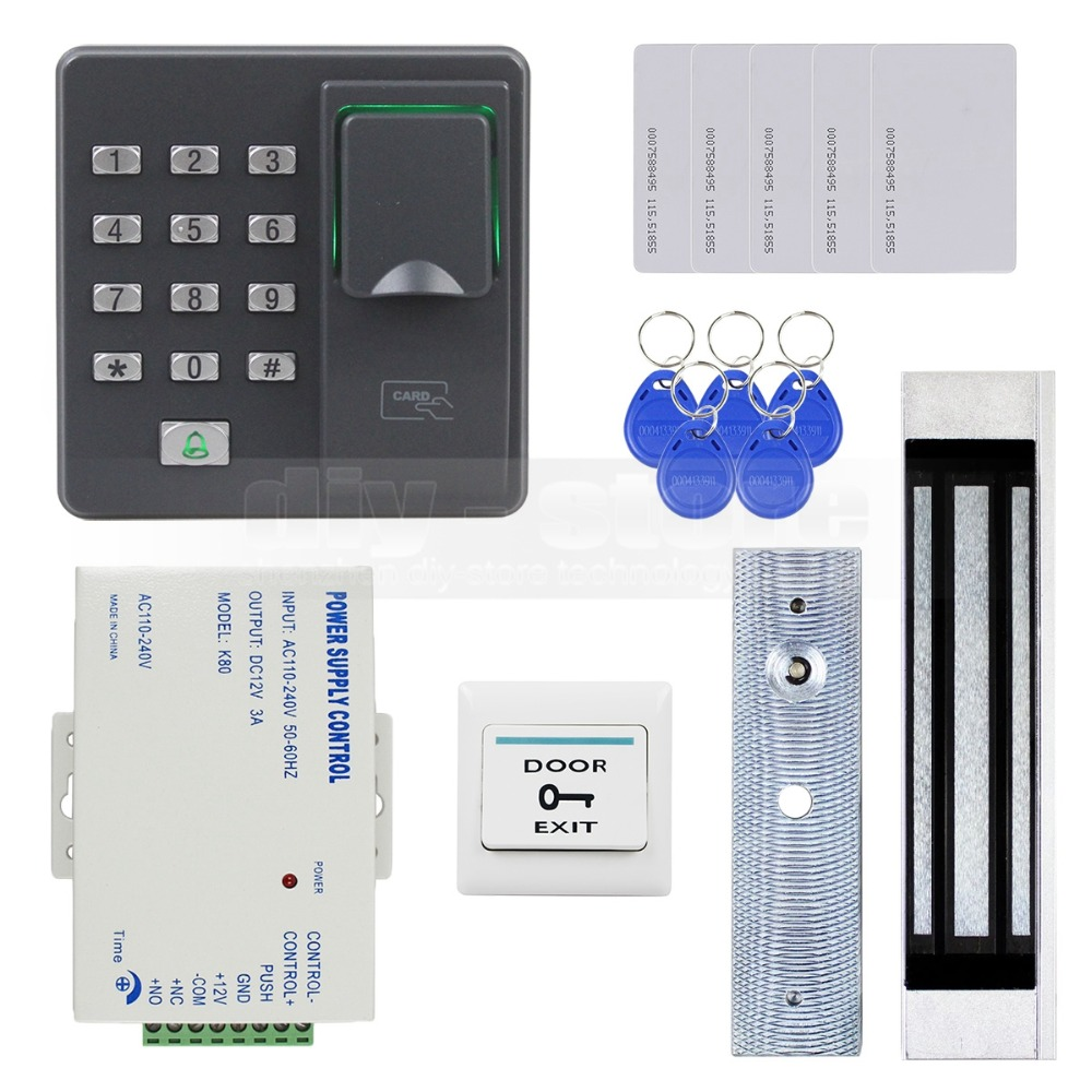 DIYSECUR Biometric Fingerprint RFID 125KHz Password Keypad Door Access Control System Kit + 180kg Electric Magnetic Lock brand new biometric fingerprint door access control system 125hz rfid keypad for entrance guard get 10 piece id keyfob free