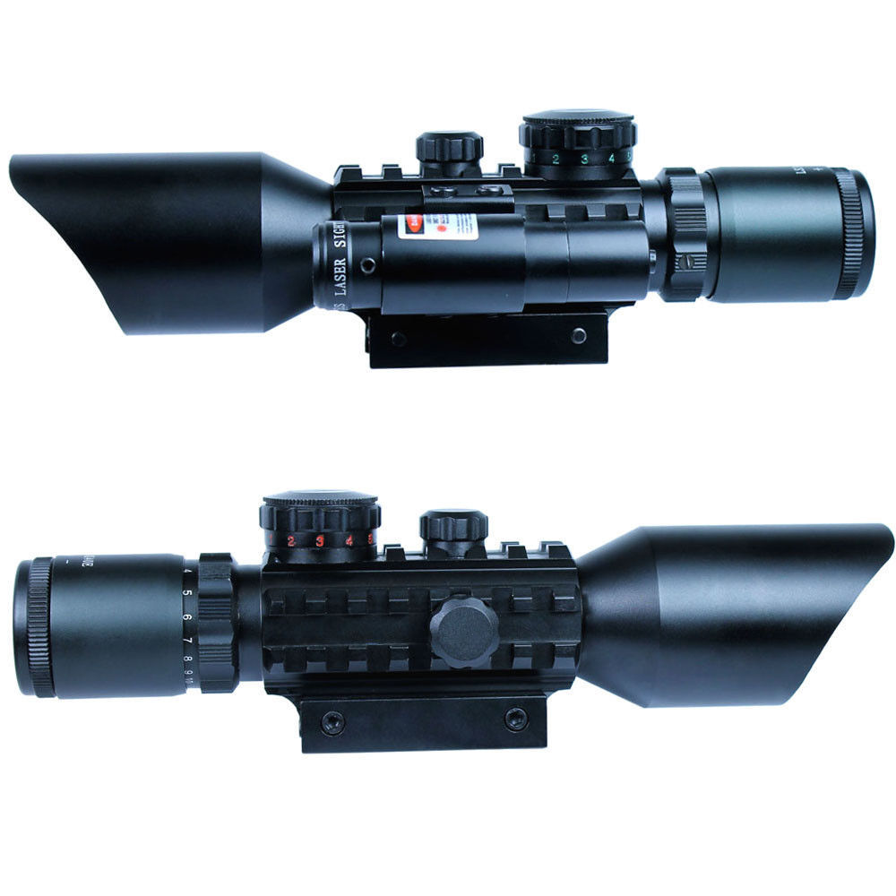 3-10x40 Tactical Rifle Scope Red Laser Dual illuminated Mil-dot w/ Rail Mounts Combo Airsoft Weapon Sight for hunting 3 10x42 red laser m9b tactical rifle scope red green mil dot reticle with side mounted red laser guaranteed 100%