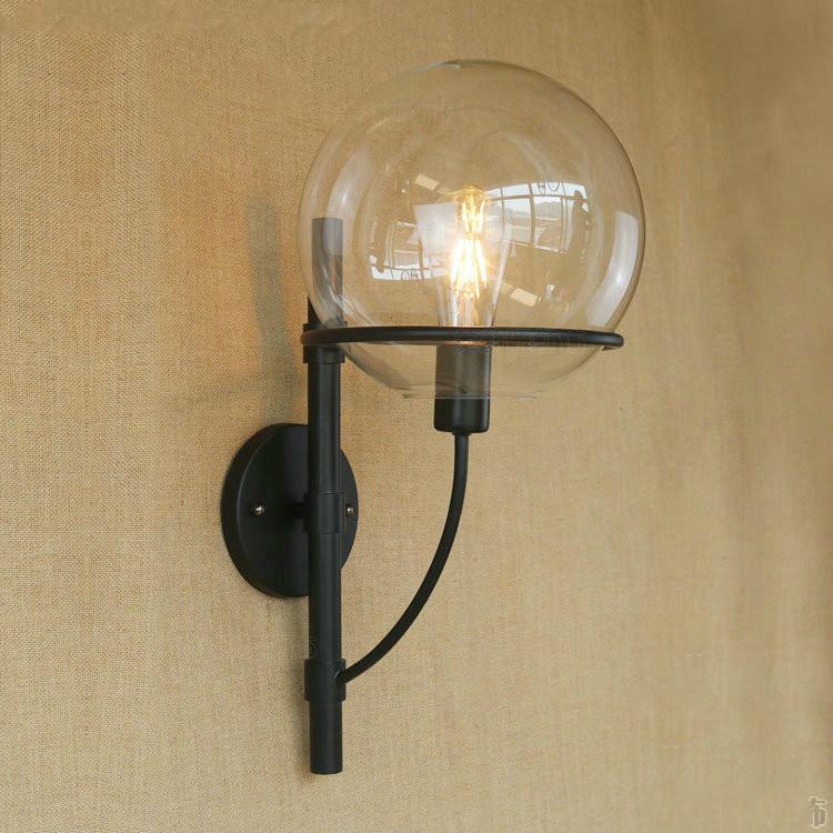desvn lmpara de pared luces de pared pantalla redonda bola de cristal retro lmpara de pared