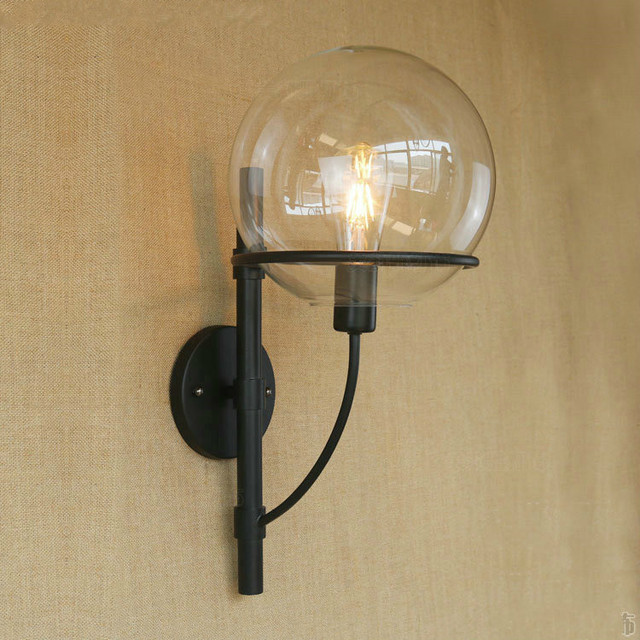 loft sconce wall lights round glass ball lampshade retro wall lamp ...