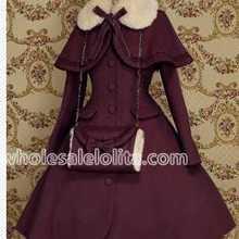 Лидер продаж, фиолетовое шерстяное теплое зимнее милое пальто в стиле Лолиты, зимние длинные пальто, все размеры, распродажа