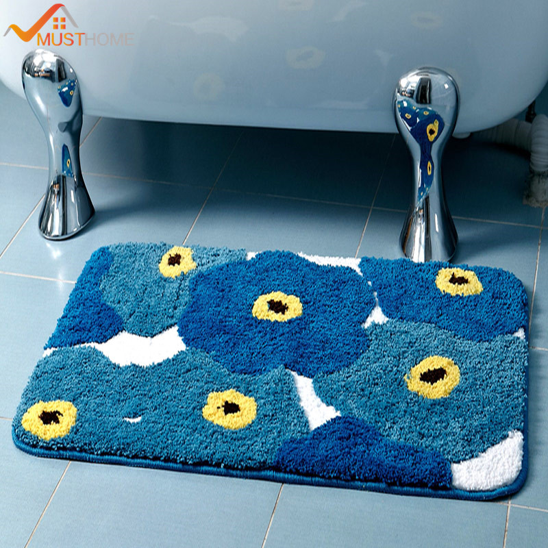 Cartoon Blue Flowers Bath Rugs TPE Slip Bottom 19.6u0027u0027Wx31.4u0027u0027L/50x80cm Free  Shipping