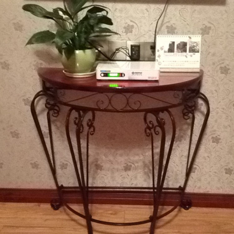 Telephone Console Table half round console table. wellington hall mahogany half round