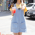 Summer 2017 Women Strap Denim short Dress Button pocket Casual Loose Solid Light Blue Jeans Ladies Dresses for woman