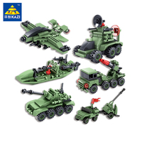 KAZI Toys Enlighten Military Educational Building Blocks For Child Gift World War Weapons Tank Helicopter Compatible