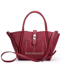 QIANGSHILI Brand Fashion Vintage Trapeze Genuine Leather Large Big Shoulder Luxury Handbags Women Bags Designer High Quality