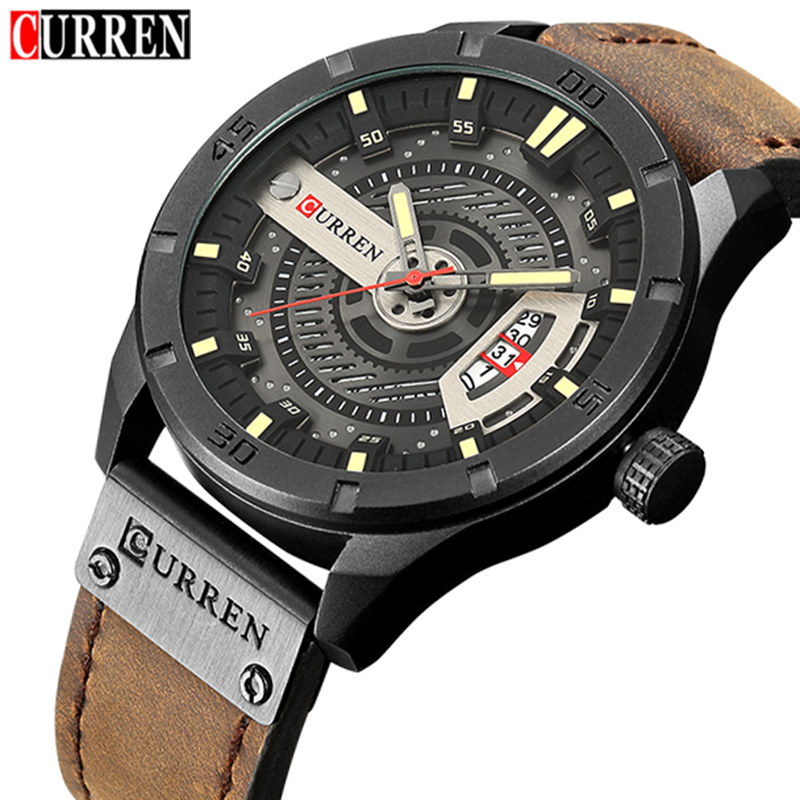 2019 Luxury Brand CURREN Men Military Sports Watches Men's Quartz Date Clock Man Casual Leather Wrist Watch Relogio Masculino