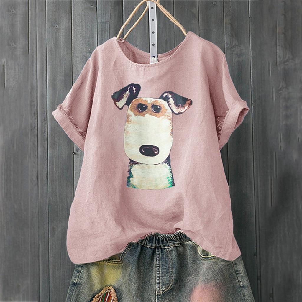 Casual Women Cartoon Dog Print Loose Linen Button Tunic Shirt Tops t shirt with print clothing for women tops Plus Size