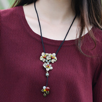 Sweater Necklace Fashion Ethnic Jewelry Copper Flowers Pendant Agate And Aventurine Vintage Long Chain