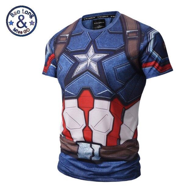 2017 Homens Verão Camisa De Compressão 3D Punisher Marvel Superhero Capitão  América Superman Camiseta de Fitness 4636cebc230db