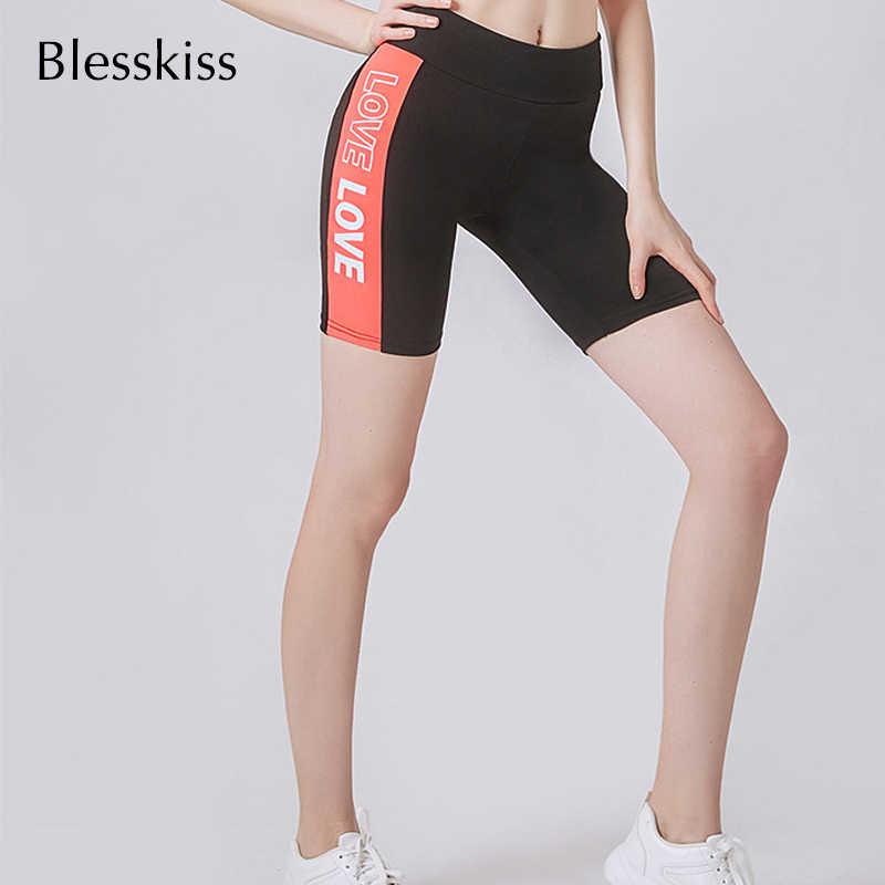 BLESSKISS wydrukowano list miłość joga spodenki Fitness kobiety wysoka talia Sport Wear spodenki gimnastyczne dla pań kontrola brzucha krótkie legginsy