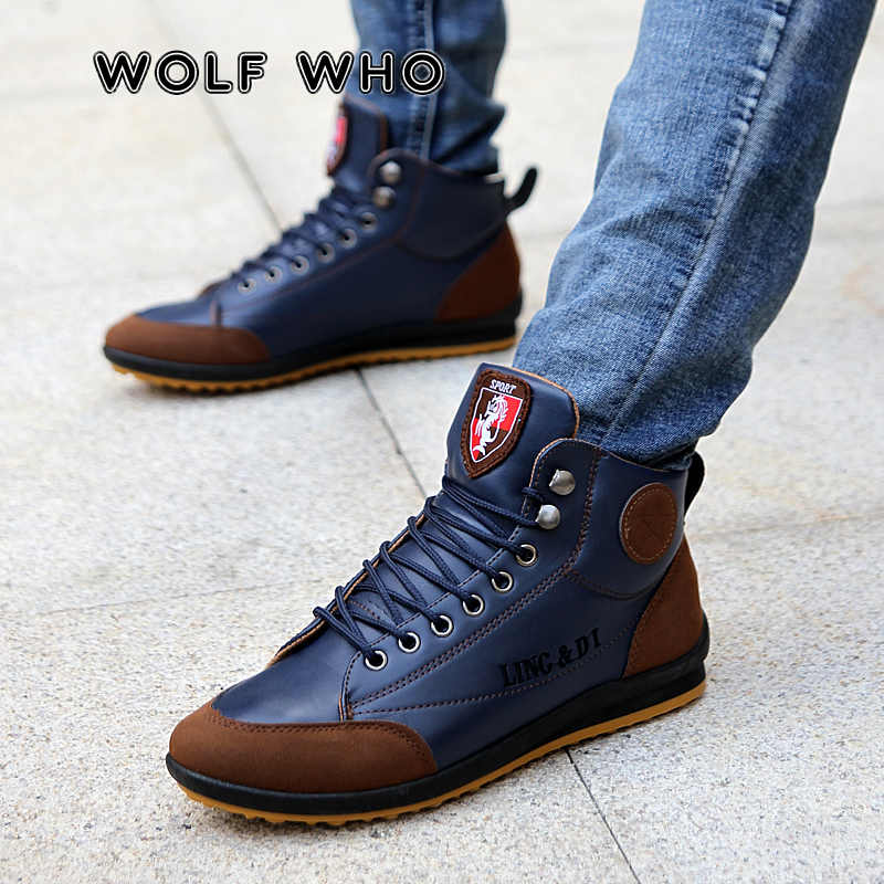 WOLF DIE Retro Winter Mannen Lederen Katoen Laarzen Super Warm Casual Man sneakers Lace Up Patchwork Enkellaars Zapatos Hombre w067