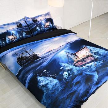 3D Treasure Bedclothes Bed and Bedding Set Microfiber Bedding Comforter Duvet Cover Set non-fadin for Adults Bed